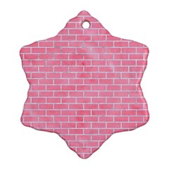 Brick1 White Marble & Pink Watercolor Ornament (snowflake)
