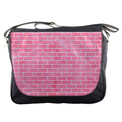 Brick1 White Marble & Pink Watercolor Messenger Bags