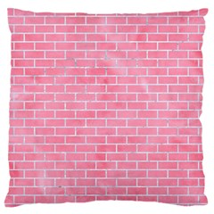 Brick1 White Marble & Pink Watercolor Standard Flano Cushion Case (one Side)