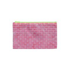 Brick1 White Marble & Pink Watercolor Cosmetic Bag (xs)