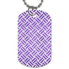 Woven2 White Marble & Purple Brushed Metal (r) Dog Tag (one Side)