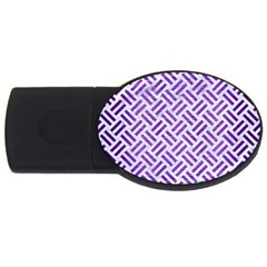 Woven2 White Marble & Purple Brushed Metal (r) Usb Flash Drive Oval (2 Gb)