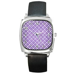 Woven2 White Marble & Purple Brushed Metal (r) Square Metal Watch