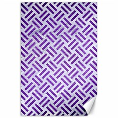 Woven2 White Marble & Purple Brushed Metal (r) Canvas 24  X 36