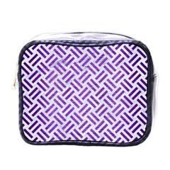 Woven2 White Marble & Purple Brushed Metal (r) Mini Toiletries Bags