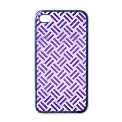Woven2 White Marble & Purple Brushed Metal (r) Apple Iphone 4 Case (black)