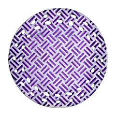 Woven2 White Marble & Purple Brushed Metal (r) Round Filigree Ornament (two Sides)