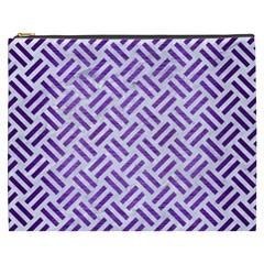 Woven2 White Marble & Purple Brushed Metal (r) Cosmetic Bag (xxxl)