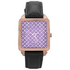 Woven2 White Marble & Purple Brushed Metal (r) Rose Gold Leather Watch