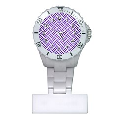 Woven2 White Marble & Purple Brushed Metal (r) Plastic Nurses Watch
