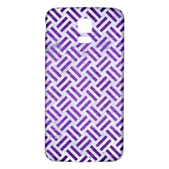 Woven2 White Marble & Purple Brushed Metal (r) Samsung Galaxy S5 Back Case (white) by trendistuff