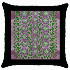 Ivy And  Holm Oak With Fantasy Meditative Orchid Flowers Throw Pillow Case (black) by pepitasart