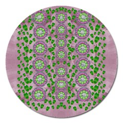 Ivy And  Holm Oak With Fantasy Meditative Orchid Flowers Magnet 5  (round)