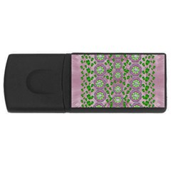 Ivy And  Holm Oak With Fantasy Meditative Orchid Flowers Rectangular Usb Flash Drive