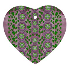 Ivy And  Holm Oak With Fantasy Meditative Orchid Flowers Heart Ornament (two Sides) by pepitasart