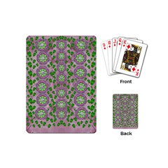 Ivy And  Holm Oak With Fantasy Meditative Orchid Flowers Playing Cards (mini)  by pepitasart
