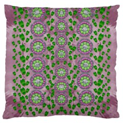 Ivy And  Holm Oak With Fantasy Meditative Orchid Flowers Large Cushion Case (one Side)