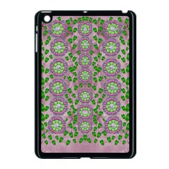 Ivy And  Holm Oak With Fantasy Meditative Orchid Flowers Apple Ipad Mini Case (black) by pepitasart