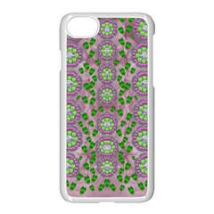 Ivy And  Holm Oak With Fantasy Meditative Orchid Flowers Apple Iphone 7 Seamless Case (white)