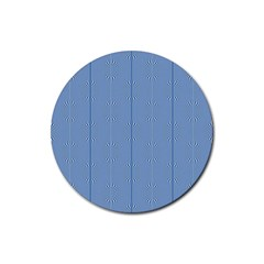 Mod Twist Stripes Blue And White Rubber Round Coaster (4 Pack)