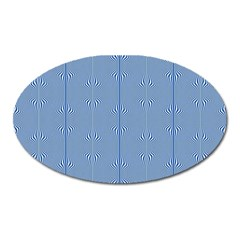 Mod Twist Stripes Blue And White Oval Magnet