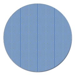 Mod Twist Stripes Blue And White Magnet 5  (round)