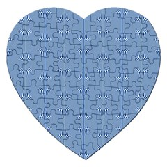 Mod Twist Stripes Blue And White Jigsaw Puzzle (heart)