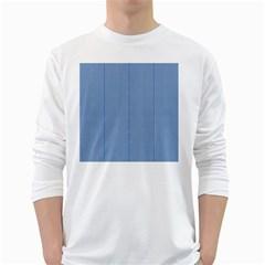 Mod Twist Stripes Blue And White White Long Sleeve T Shirts