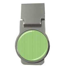 Mod Twist Stripes Green And White Money Clips (round)
