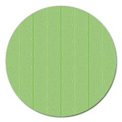 Mod Twist Stripes Green And White Magnet 5  (round) by BrightVibesDesign