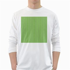 Mod Twist Stripes Green And White White Long Sleeve T Shirts by BrightVibesDesign
