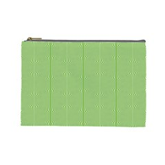 Mod Twist Stripes Green And White Cosmetic Bag (large)