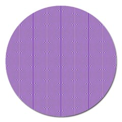 Mod Twist Stripes Purple And White Magnet 5  (round) by BrightVibesDesign