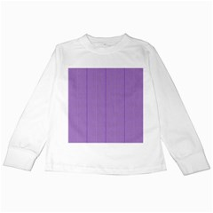 Mod Twist Stripes Purple And White Kids Long Sleeve T Shirts by BrightVibesDesign