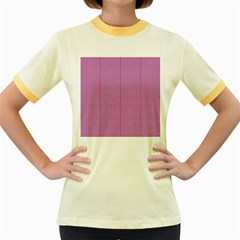 Mod Twist Stripes Pink And White Women s Fitted Ringer T Shirts by BrightVibesDesign