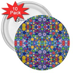 Colorful Flowers 3  Buttons (10 Pack)  by LoolyElzayat