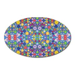 Colorful Flowers Oval Magnet