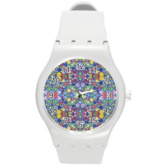 Colorful Flowers Round Plastic Sport Watch (m) by LoolyElzayat