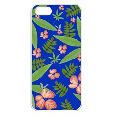 Leaves On Blue Apple Iphone 5 Seamless Case (white)