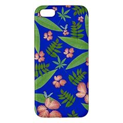 Leaves On Blue Apple Iphone 5 Premium Hardshell Case