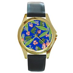 Leaves On Blue Round Gold Metal Watch