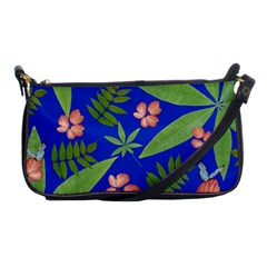 Leaves On Blue Shoulder Clutch Bags by LoolyElzayat