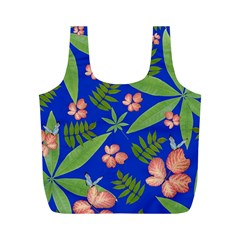 Leaves On Blue Full Print Recycle Bags (m)  by LoolyElzayat