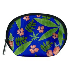 Leaves On Blue Accessory Pouches (medium)