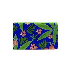 Leaves On Blue Cosmetic Bag (xs)