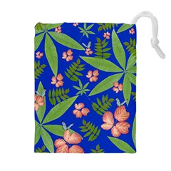 Leaves On Blue Drawstring Pouches (extra Large)