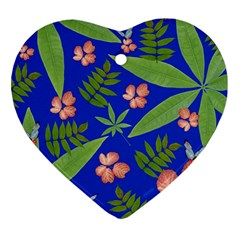 Leaves On Blue Ornament (heart)