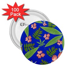 Leaves On Blue 2 25  Buttons (100 Pack)