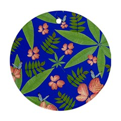 Leaves On Blue Round Ornament (two Sides) by LoolyElzayat