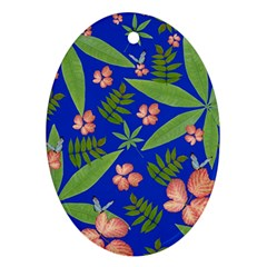 Leaves On Blue Oval Ornament (two Sides)